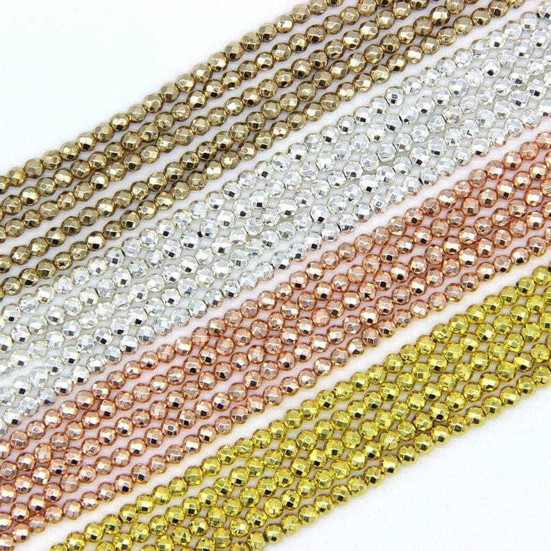 22884e8a494 Ronde à facettes hématite minuscules perles 2 3mm 4mm petite