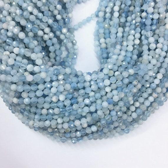 1 Strand of 4mm Natural Aquamarine Beads Round