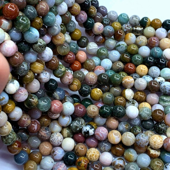 6MM GREEN OCEAN JASPER GEMSTONE ROUND 6MM LOOSE BEADS 15.5/""