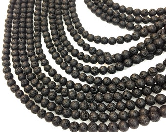 "Natural Lava Beads 4 mm 6mm 8mm Natural Black Gemstone Beads 10mm 12mm Strand 15.5"" Wholesale Volcanic Rock Yoga Mala Jewelry Making Supply"