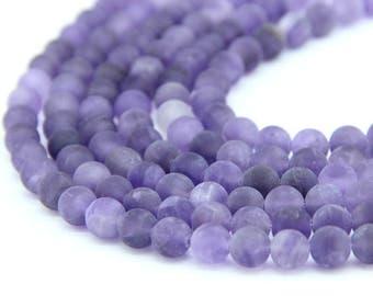 Natural Matte Amethyst Beads 4mm 6mm 8mm 10mm Purple Gemstone Beads Amethyst Mala Beads Purple Semi Precious Chakra Bead February Birthstone