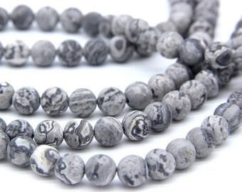 Matte Gray Picture Jasper Beads 6mm 8mm 10 12mm Gray Map Jasper Beads Scenery Jasper Beads Natural Gray Beads Gray Mala Beads Gray Gemstones