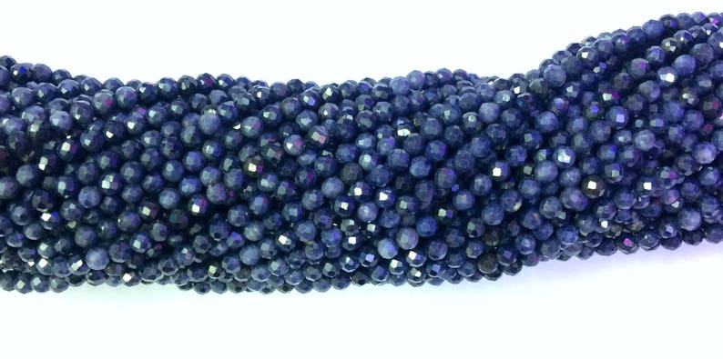 Natural Blue Sapphire 2mm 3mm 4mm Beads Micro Faceted 15.5 Tiny Genuine Dark Blue Sapphire Beads Precious Gemstone Small Sapphire Spacers