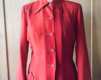 1940s rayon gabardine lipstick red suit.