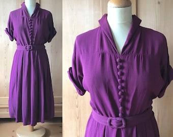 1940s rayon dress with original belt
