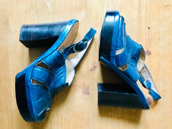 1970s blue leather platforms.