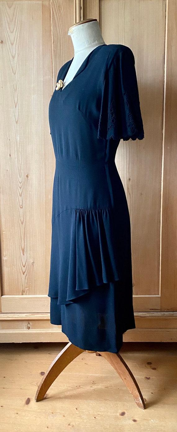 1940s dress, Black rayon, flutter sleeves - image 6
