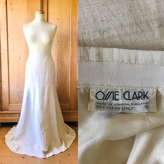 original ossie clark skirt in cream silk. xs