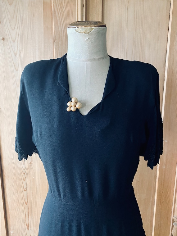 1940s dress, Black rayon, flutter sleeves - image 2