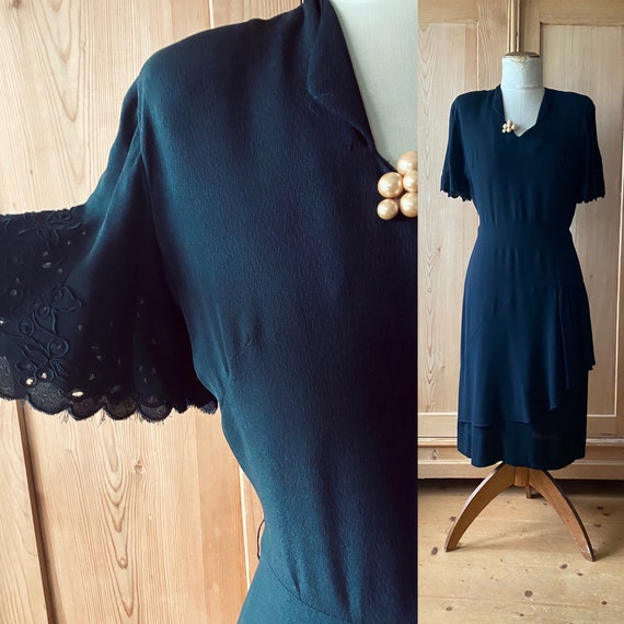 1940s dress, Black rayon, flutter sleeves