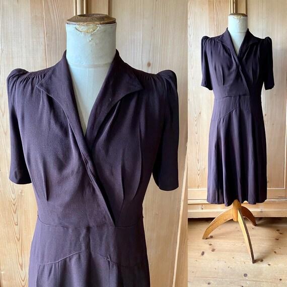 1930s early 40s deep aubergine brown rayon dress w