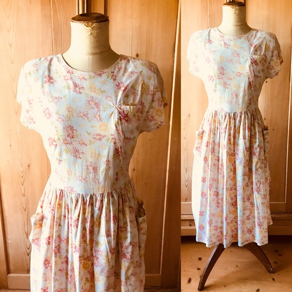 1940s, early 50s floral cotton dress