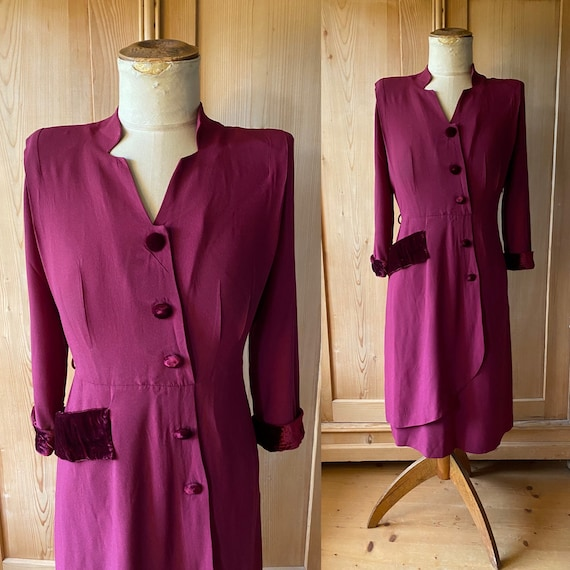 1940s Bordeaux rayon jersey and velvet  dress