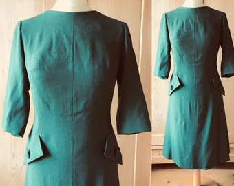 1960s green wool dress with deco features