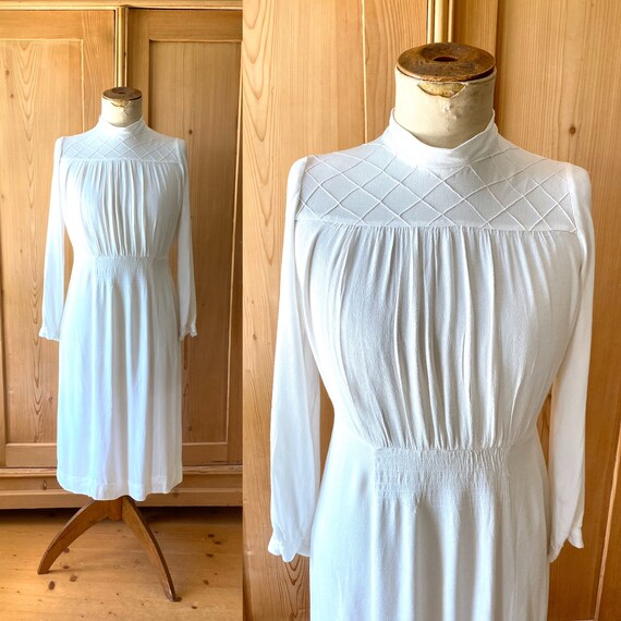 1930s - 40s White rayon crepe dress