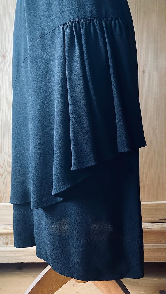 1940s dress, Black rayon, flutter sleeves - image 7