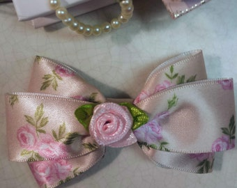 Tan and Pink Floral Satin Hairbow