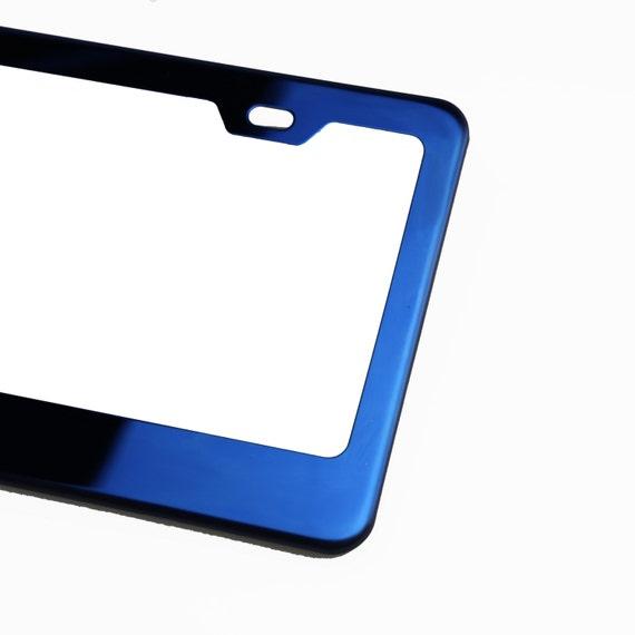 Blue Chrome License Plate Frame Stainless Steel Laser Engraved Fit Infiniti Logo