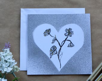 Botanical Greetings Card, Flower and Silver Heart, Hand Drawn, Easter Card, Birthday Card, Mothers Day Card, Card For All Occasions