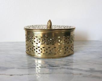 Vintage Brass Canister, Bathroom Storage, Bathroom Vanity, Desk Accessory Her, Keepsake Box, Decorative Tea Box, Desk Organizer Trinket Dish