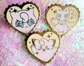 Poke Love 1.5 inch Hard Enamel Pin - Clefairy Jigglypuff Mew - Pokemon Kawaii Cute Girly Gamer Anime Hat Lapel Pastel