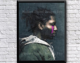 ASAP Rocky Painting Rap Rapper Hip Hop Music Song Lyric Art Print