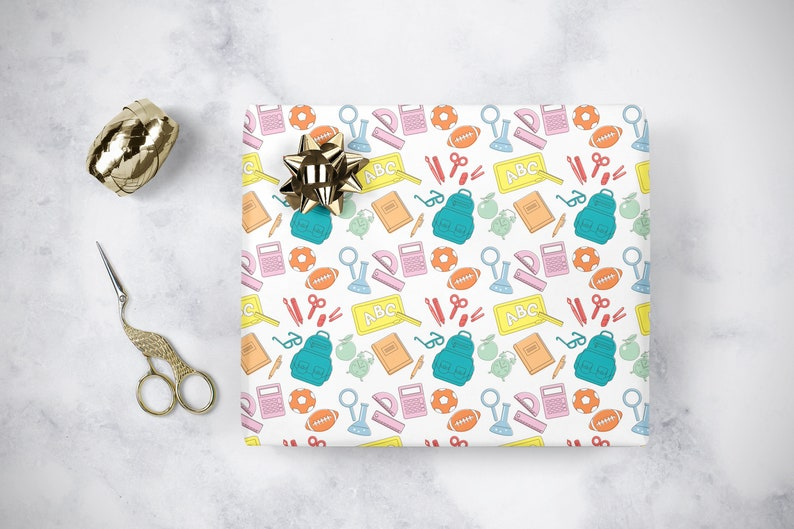 School Supplies Themed Gift Wrapping Paper  Back to School image 0