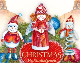 christmas clipart christmas watercolor digital xmas wreath clip art holiday xmas print winter clip art angel digital scrapbook snowman