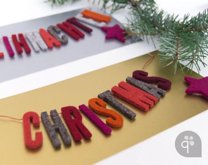 quadu Christmas Card - Garland - Merry Christmas