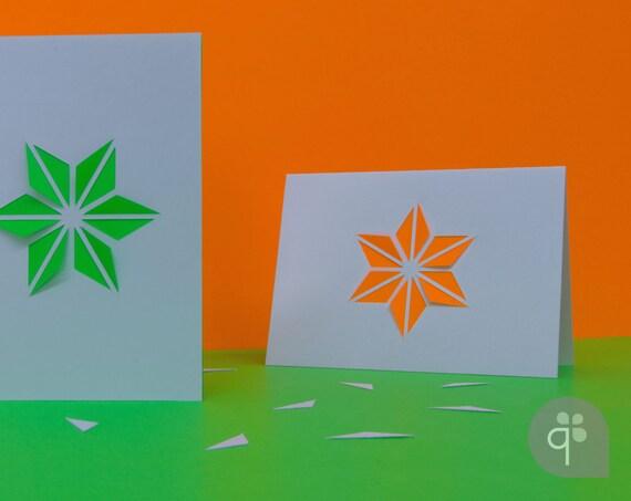 quadu 3D-Klappkarte Blume – Blüte – Stern