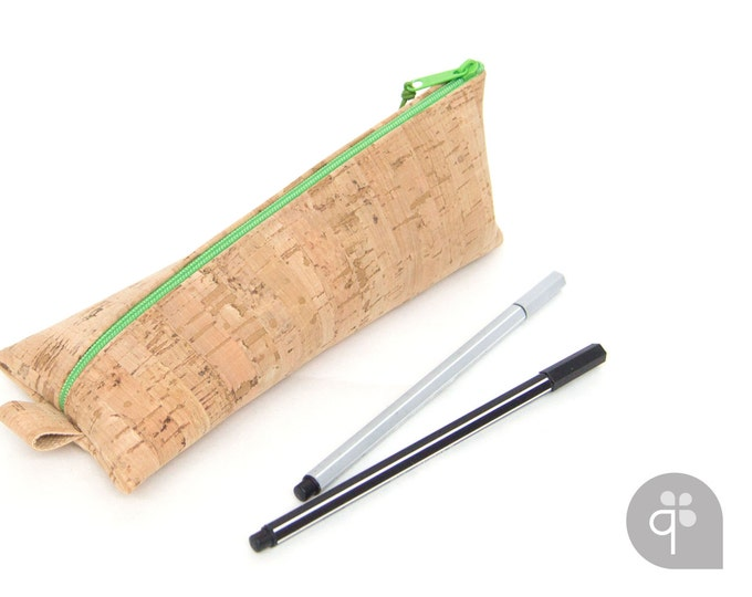 quadu pencil case - cork pencil case in birch look / 16 zip colors