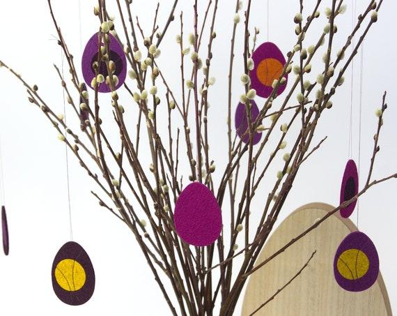 quadu Ostereier 3er Set - Dekoration - Anhänger - aubergine/lila/pink