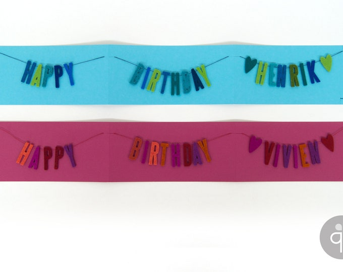 quadu birthday card / garland with name
