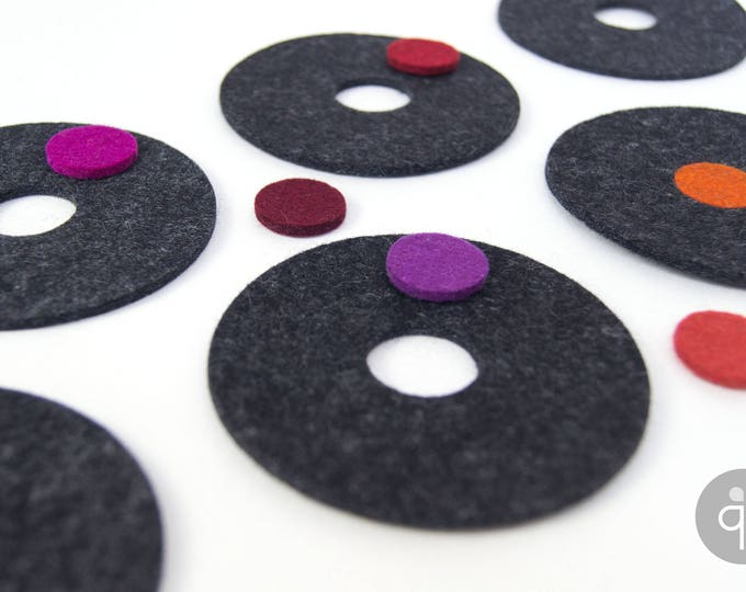 quadu felt coaster set of 6