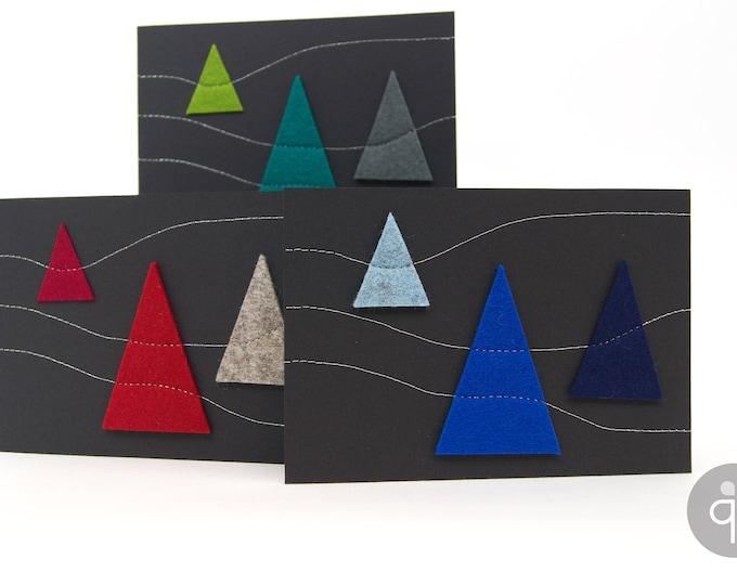 quadu Christmas card - black - 3 trees