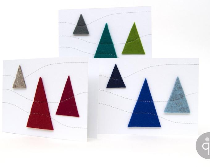 quadu Christmas card - white - 3 trees