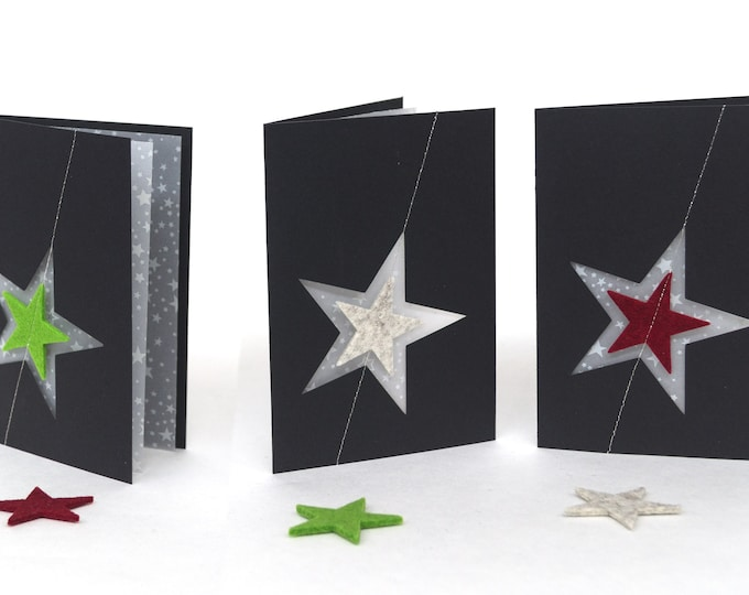 quadu Christmas Card - A6 Star - black