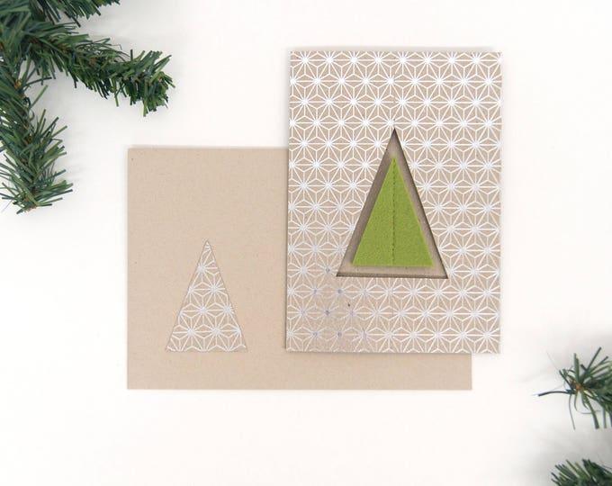 quadu Christmas card - tree - silver