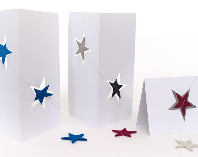 quadu Christmas card - two stars - white