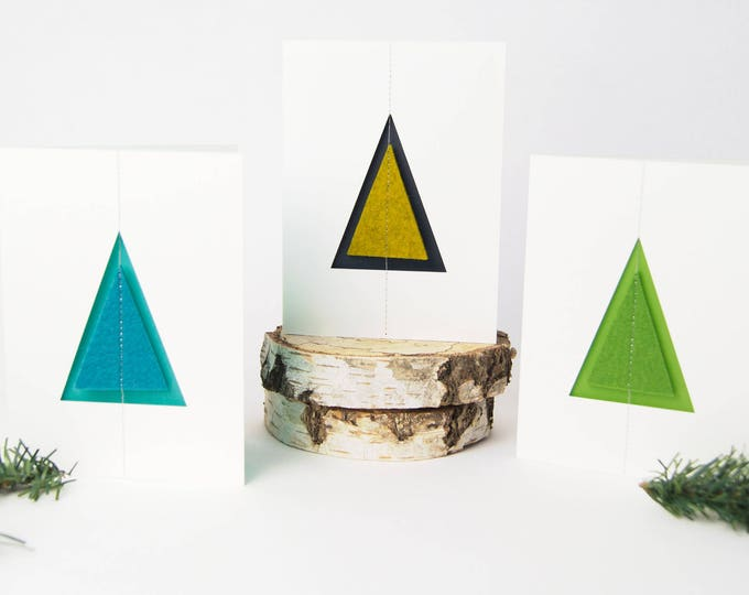 quadu Christmas card - tree - ivory