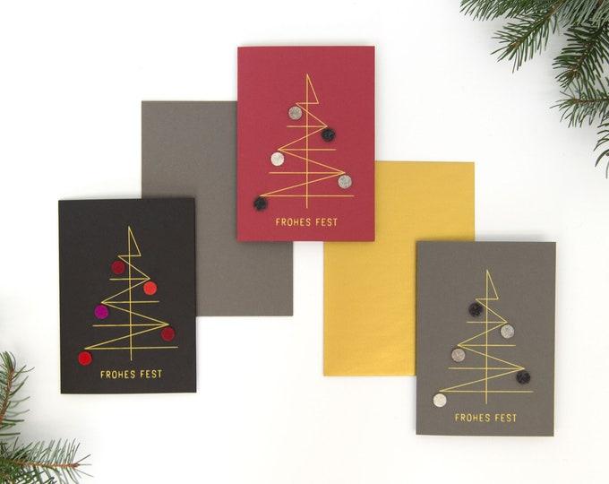 quadu Weihnachtskarte  3er-Set – NEU 2020 – Geometrischer Baum mit Kugeln – FROHES FEST