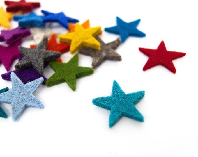 quadu 25 colorful felt stars - 25 mm