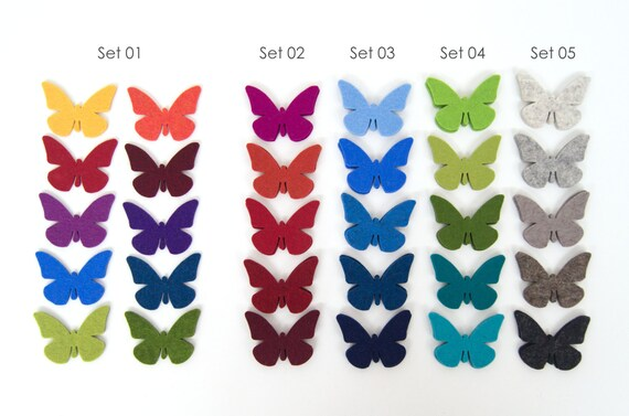 Square 10 butterflies – wool felt – in many colours