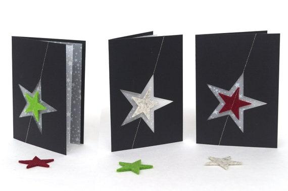 Quadu Christmas Card – A6 Star – Black