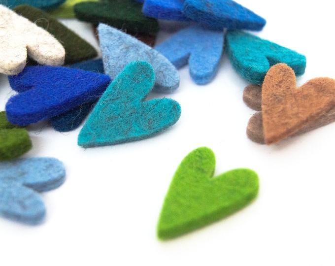 quadu 25 colorful felt hearts mini - 25 mm