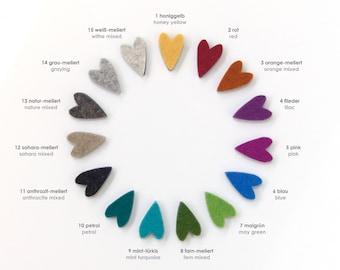 quadu 10 colorful magnets - heart shape - in many colors