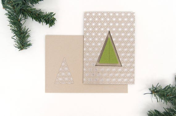 quadu Christmas card - tree - silver