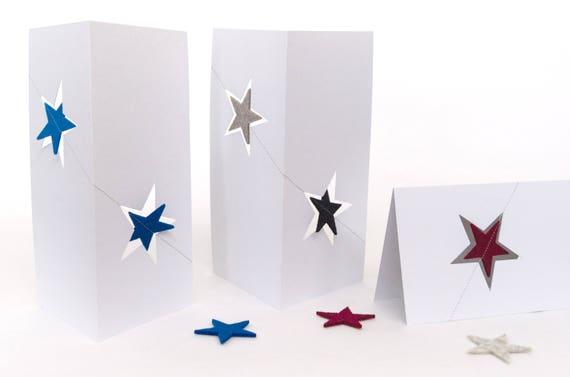 Quadu Christmas Card – two stars – white