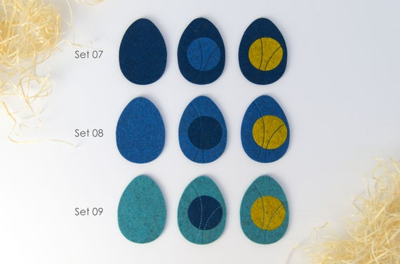 quadu Ostereier 3er Set - Dekoration - Anhänger - Blautöne
