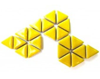 Triangle Ceramic Mosaic Tiles - Citrus Yellow - 50g (1.75 oz)